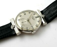 Longines Men's 14K White Gold & Diamond Wrist Watch RUNS Sovereign Model 1950's