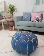 Moroccan leather pouf, chair ottoman, footstool, pouf en cuir.