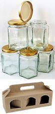 30 x 190 ML 8 OZ (ca. 226.79 g) esagonale preservare Hex Barattolo di Vetro Barattoli Marmellata Miele & 10 x scatole regalo