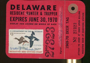 DELAWARE 1969 Trapping & Hunting License/ RW36 - 128