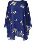Ladies Womens Chiffon Sheer Lined Long Tunic Blouse Top Kaftan Poncho Size 14-30