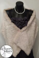 Australian Made Patterned Ivory Faux Fur Wrap Shawl by Lucy's Envy W102-16
