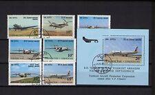 Usbekistan 1995 Michel-Nr. 77-83 und Block 8 Gestempelt Used Flugzeuge