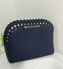 Michael Kors Cosmetic Bag Cindy Pouch Logo Scalloped Leather Zip Navy Blue  M1