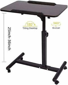 Overbed Table Laptop Desk Cart Hospital Bed Desk Mobile Height, Black Walnut