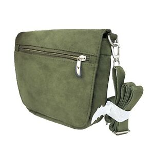 Travelon Crossbody Anti Theft Purse Mini Green Faux Suede Organizer Bag NWOT