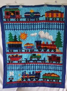 "Quilt Train Hand Made 35"" x 43"" Blue Red Blanket Double Sided"