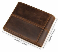 J.M.D Men's Imported Crazy Horse Leather Wallet Bifold Money Clips Card Purse