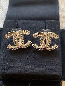 CHANEL Crystal Diamanté Gold Chain Design CC Stud Earrings