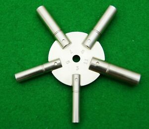 Clock Star Spider Winding Key Solid Brass,  Winder Prong Tool, Odd numbers