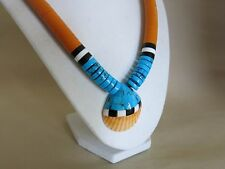 Santo Domingo Pueblo Shell Turquoise Inlay Necklace Southwest Design [2940]