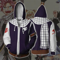FAIRY TAIL Anime Hoodie Sweatshirts Cosplay Zipper Coat Hooded Jacket Costume