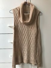 Temt Blush Beige Knitted Cowl Neckline Sleeveless Blouse Top-S-NWT