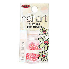 Art Club Clay Nail Art Pink Flowers And Sprinkles