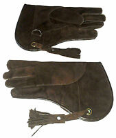 "Falconry Glove 12"" Long Suede Leather Double Layer (Dark Brown, Standard Size L)"