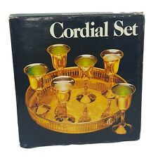 Solid Brass 7 Piece Cordial Set W/ Gallery Tray Leonard Vintage