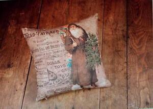 NWT Ragon Brown Santa Victorian Toy Newsprint Advertising CHRISTMAS THROW PILLOW
