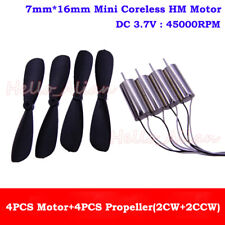 4PCS DC3.7V 45000RPM High Speed Mini 7mm*16mm Coreless Motor Blades DIY RC Drone