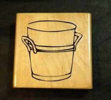 ONE BUCKET DESIGN WOODEN RUBBER CRAFT STAMP - STAMP CABANA