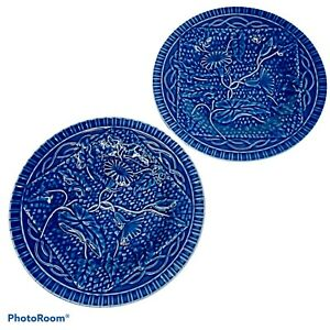 PAIR (2) Vintage Bordallo Pinheiro Blue Morning Glory Plates Portugal Majolica
