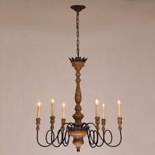 Antique 6-Light Candelabra Rust Metal Wooden Chandelier Kicthen Pendant Lamp