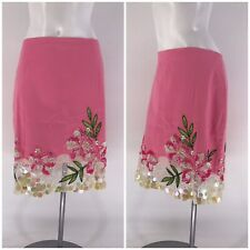MUSE SKIRT Sequin Floral MINI Pink Lined 14