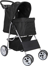 4 Wheels Foldable Pet Stroller for Cats/Puppies 35 Lbs Capacity