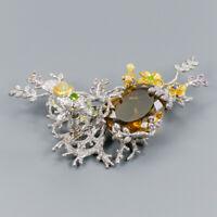 Fine Art30ct+ Natural Citrine Quartz 925 Sterling Silver Brooch /NB06584
