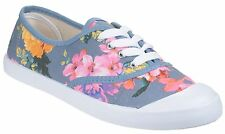 Divaz Ellie Flower Print Pumps Womens Classic Summer Plimsole Canvas Shoes UK3-8