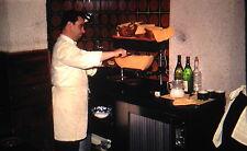 Kodachrome 35mm Slide Switzerland Lausanne Restaurant Waiter Block Cheese 1970!
