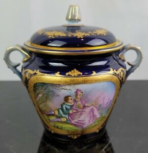 Antique French Sevres Or Style Porcelain Hand Painted Cobalt And Gold Sugar Bowl