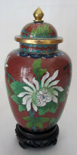 "6"" Beijing Cloisonne Cremation Urn Hong Kong Green Floral with Butterfly - New"