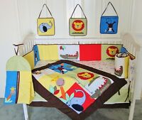 ANIMAL SAFARI Baby Cot Bedding 8 Piece Embroidered Set + Appliques BRAND NEW