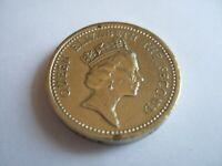 """1987 1 Pound coin Falkland Islands """"Desire The Right"""" - Circ Good Condition!"""