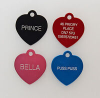 Dog Cat Pet Tag ID Tags Personalised Engraved Heart ID Design Pet Collar