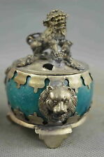 Collectable Handmade Agate Armor Miao Silver Carve Lion Decorative Royal Statue
