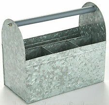 Galvanized Metal Utensil Caddy Holder Picnic Kitchen Organizer