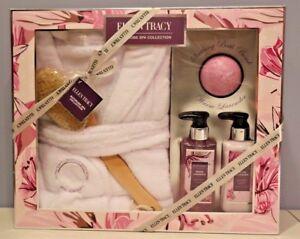 Ellen Tracy Spa Gift Set - Bathrobe, Back Brush, Bomb Body Wash & Lotion NEW!