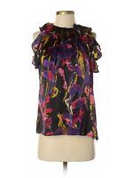 Milly New York Black Splatter Print Silk Ruffle Collar Sleeveless Top, Size 4