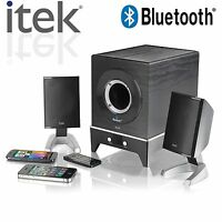 Itek 2.1 Multimedia Bluetooth Speaker System iPad Iphone Samsung Galaxy #58012