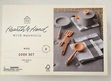 NIB Hearth & Hand Magnolia Wooden Toy Kitchen Pot Pan 8 pieces Cook Set