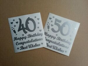 Happy Age Birthday Silver Vinyl Stickers Labels for cards wine bottle mug gift