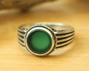 Natural Green Agate Men's Rings Handmade 925 Sterling Silver MULTI-SIZES Rings