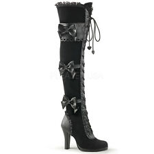 Victorian Steampunk Lolita Burlesque Gothic Over Knee Boots Scalloping Bow