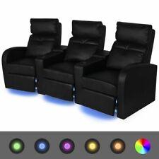 vidaXL Leunstoel Driezits met LED-Strip Kunstleer Zwart Driezitter Leun Stoel
