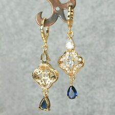 Lovely 18ct gold filled clear and sapphire blue glass dangle earrings