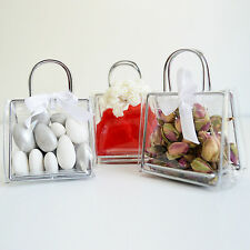 25 Handbag Place Card Holders Wedding Favors Clear Boxes Bridal Shower Gift Bags