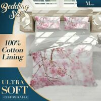 Branches White Floral Flowers Pink Doona Cover Sets with Zipper And Pillowcase