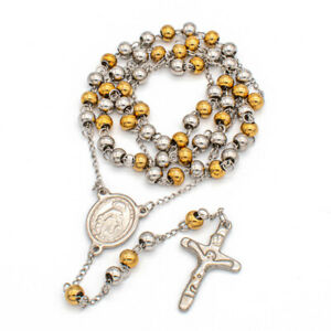Silver And Gold Stainless Steel Rosary Necklace 6mm Beads Jesus Cross Miraculous