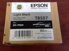 GENUINE NEW EPSON T8507 Light Black Ink 80ml SC-P800 07/2018